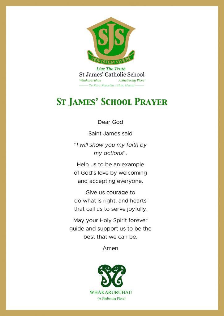 St James' Prayer, St James' Catholic School Palmerston North